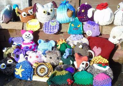 Hand knitted tea cosy cosies crochet Daffodil Bee cottage owl poppy cat frog