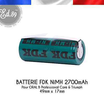 Batterie FDK NiMH 2700mAh 49x17mm Oral B Triumph Type 3761 3762 3764