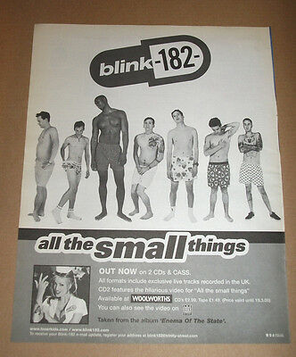 blink 182 - All the small things 1999 Vintage ORIGINAL ADVERT POSTER 37 X 29 CM