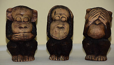 Vintage 3 Three Wise Monkeys Hand Carved Detailed Wooden Sculptures