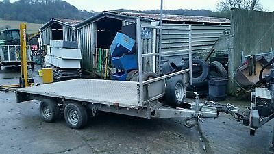 ifor williams 12 foot car trailer flat bed twin axle general purpose
