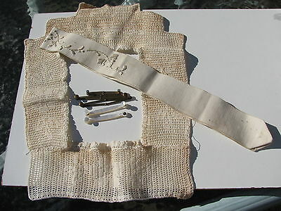 Antique Victorian Ladies Under Garment Crochet Embroider Mother Of Pearl&metal