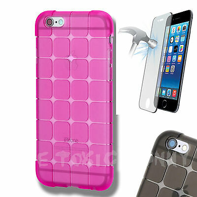 Toxic Gel Shock Case Pink Cover For iPhone 6/s With Tempered Glass Screen