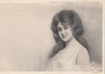 BY50.Vintage Undivided Postcard.Elegant young lady.S Hildesheimer