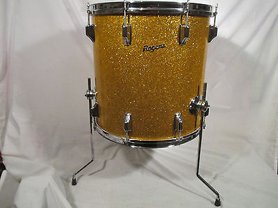 Rogers Holiday 16 X 16 Floor Tom Gold Sparkle Pat Pend Vintage 1960's
