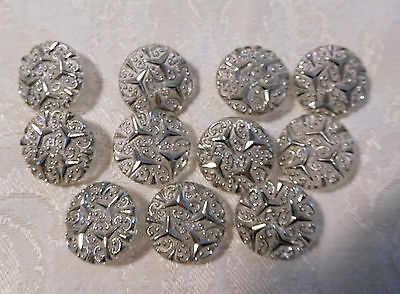 VINTAGE 11-MATCHING CLEAR ACRYLIC BUTTONS w/BEAUTIFUL SILVER RAISED LACEY DESIGN