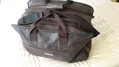 Faux Dark Brown Moleskin Travel Holdall - Used But Good Condition
