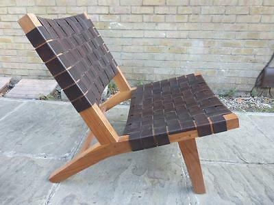 ROXY LEATHER CHAIR Style of Hans Wegner - Teak and Leather Straps - Peg Joints
