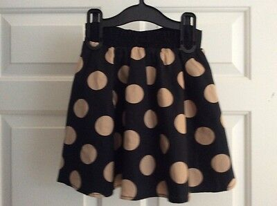 F&F Girls black and taupe spotted party skirt age 5-6 years Bnwt