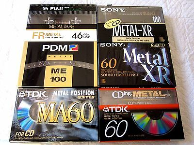6 x SONY TDK FUJI PDM METAL 100 60 - Blank Audio Cassette Tapes NEW sealed
