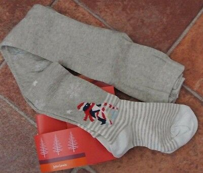 New John Lewis Christmas cotton rich tights Grey 5-6 years