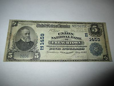 $5 1902 Frenchtown New Jersey NJ National Currency Bank Note Bill! Ch #1459 Fine