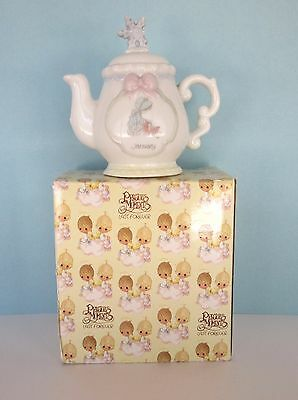 PRECIOUS MOMENTS January birthday monthly teapot  figurine 1993