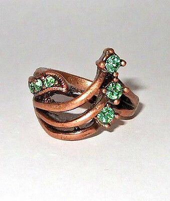 Vintage Copper Green Rhinestone Ring Size 6.5