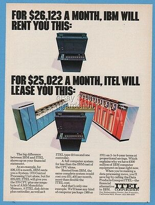 1973 Itel Corp 370 CPU vs IBM System 370 Central Processing Unit Computer Ad