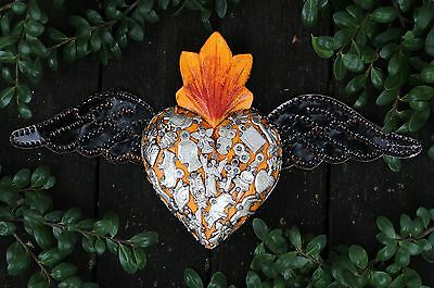 Yellow Wood Heart Tin Wings Silver Milagros Folk Art Michoacán Mexico Love Token