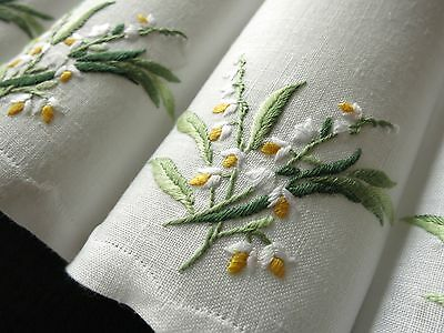 LILY OF THE VALLEY Vintage Hand Embroidered 8 Linen Cocktail Napkins UNUSED