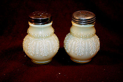 Incredible Yellow Cased Leaf Umbrella Pair of Shakers - Northwood Glass