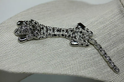 Vintage Silver Toned Enamel Articulated Brooch Pin Leopard Panther Wild Cat