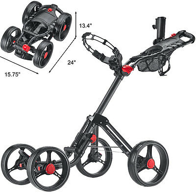 Caddytek Superlite Deluxe Qaud 4 Rad Golf Push Trolley black new Model 2016