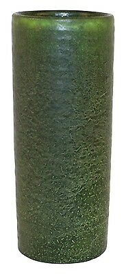 Grueby Pottery Matte Green Cylindrical Ribbed Vase