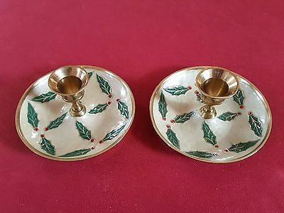 Pair of Cloisonne Christmas Brass Enameled  Candle Holders Candlesticks