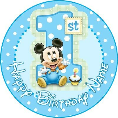 EDIBLE Baby Mickey Mouse Cake Topper 1st Birthday Wafer Paper 19cm (uncut)