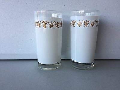 2  Glasses / Tumblers Matching Corelle Butterfly Gold