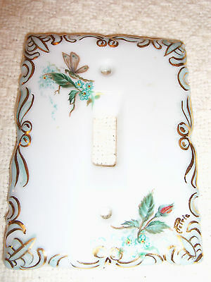 Vintage Porcelain Hand Painted and Signed Light Switch Cover/Excellent Condition