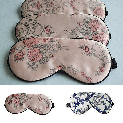 100% Pure Silk Sleep Eye Mask Floral Print Sleeping Travel Eyewear Masks