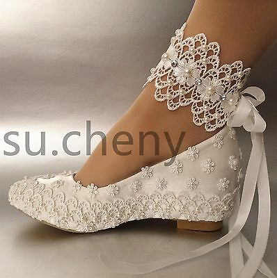 "2"" heel wedge white silk satin lace pearl ribbon ankle Wedding shoes size 5-11"