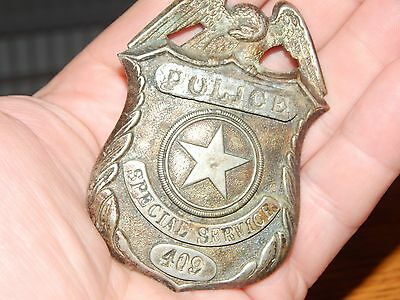 Antique Obsolete Rail Road Police Special Service # 409 Badge Hallmarked Rr
