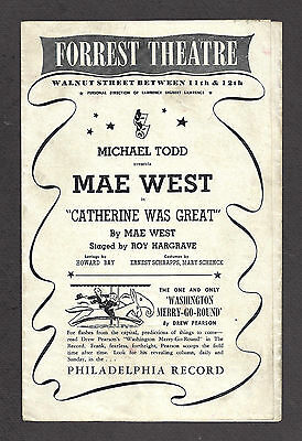 """Mae West """"CATHERINE WAS GREAT"""" Gene Barry / Philip Huston 1944 Tryout Playbill"""