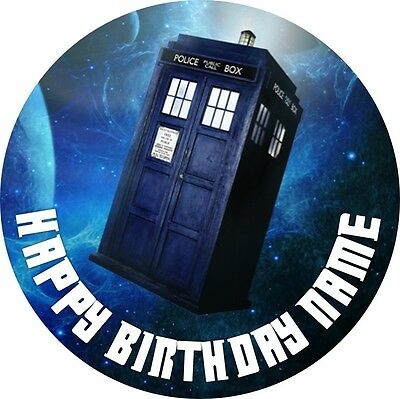 EDIBLE Dr Who Tardis Cake Topper Birthday Party Wafer Paper 19cm (uncut)