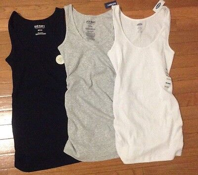 3 Old Navy Women's Sleeveless Maternity Shirred Tank Top Large Nwt L