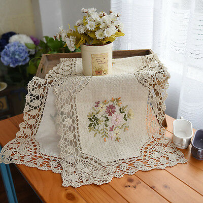 Pretty Hand Silk Daisy Embroidery Crochet Lace Insertion Beige Table Runner CL