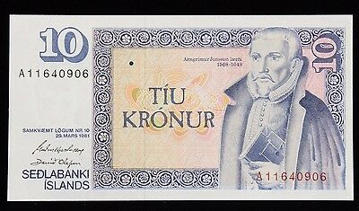 Iceland 1961 (1981) Ten 10 Kroner Banknote P48a Serial A11640906