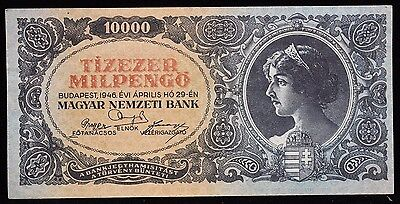 1946 Hungary 10,000 Milpengo Banknote P 126 Very Nice