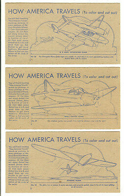 Vintage 1940s Nabisco Shredded Wheat, How America Travels, 3 Cards- #28,29,30