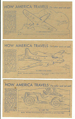 Vintage 1940s Nabisco Shredded Wheat, How America Travels, 3 Cards- #31,32,36