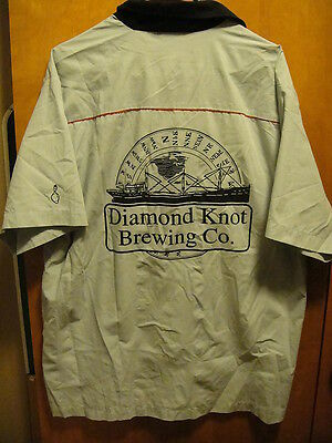 DIAMOND KNOT BREWING Washington Mens XL Beer US MADE Bowling Delivery Work Shirt