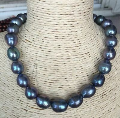 """stunning 14-15mm  natural tahitian black red blue pearl necklace 21"""" 14K"""