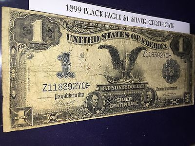 1899 *black Eagle* $1 Large Size Silver Certificate Nice Note