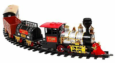 MOTA Classic Holiday Christmas Train Set with Real Smoke Authentic Lights&Sounds