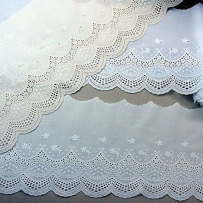 Lovely Flowers Embroidered Cotton Eyelet Lace Trim White Ivory Cream Beige 1yd