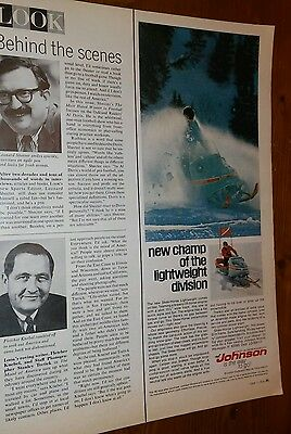 1969 Vintage Johnson snowmobile color 1/2 page magazine ad Look
