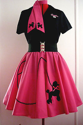 Rock N Roll Poodle Skirt & Scarf Girls Or Small Lady Hot Pink  Size 11/12  New