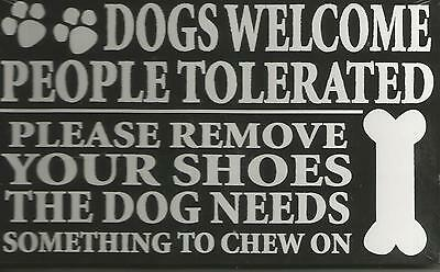 Dog Wall Saying Black And White 8 X 5 Inches Wood Brand New