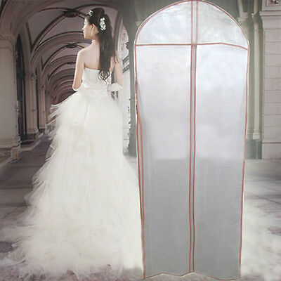 White Wedding Dress Storage Bag Gown Garment Cover Protector Non-woven Zippered