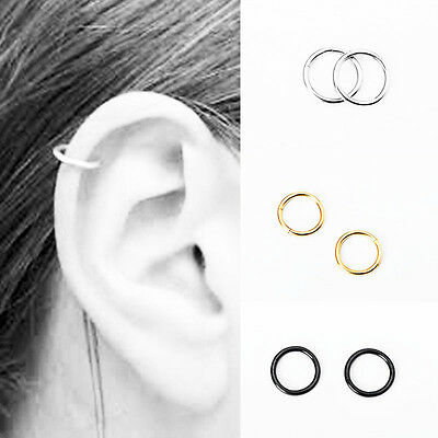 Stainless Steel Helix Nose Ear Cartilage Tragus Ring Piercing Hoop Earring 2pcs